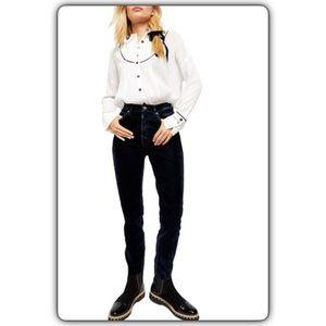 Free People Velvet High Waist Skinny Jeans Black